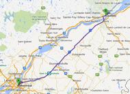 Carte trajet Montréal - Québec