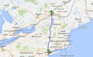Carte trajet New York - Montréal
